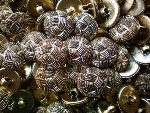 K190 15mm 24L Aged Gold Knot Twisted Rope Shank Jacket Plastic Craft Buttons