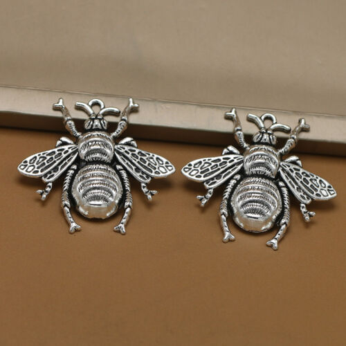10pcs Antique Silver Bee Charms Honeybee Pendant Jewelry Making Findings  0cn