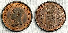 ALFONSO XIII 2 CENTIMOS 1812*12 MADRID XF+/EBC+ GRAN PARTE DE BRILLO ORIGINAL