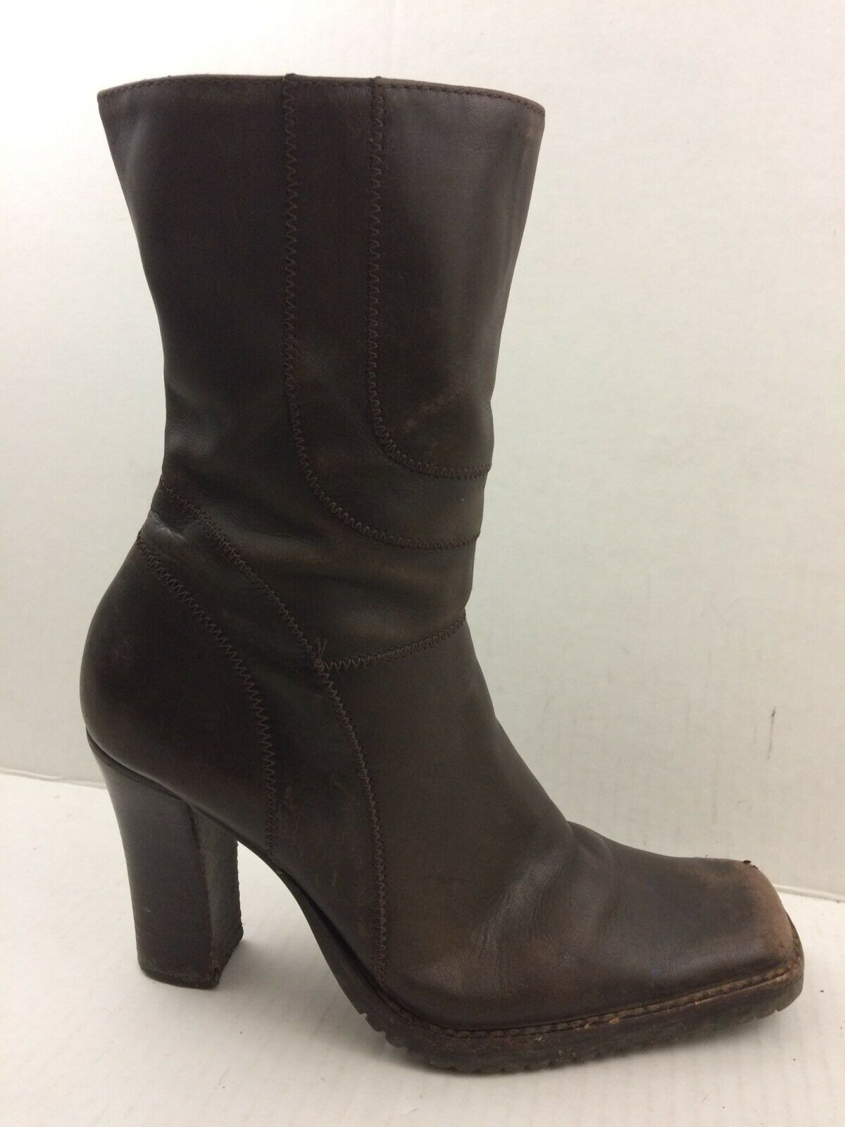 Steve Madden Press Womens 7 M Brown Leather Ankle Boots Zip High Heel Square Toe