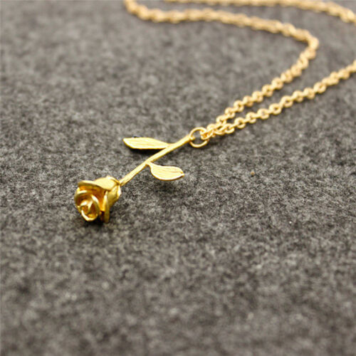 Chic Gold Silver Rose Flower Pendant Necklace Jewelry for Girlfriend Women Gift