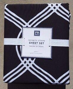 Pottery Barn Teen Cottage Stripe Sheet Set XL Twin Black white