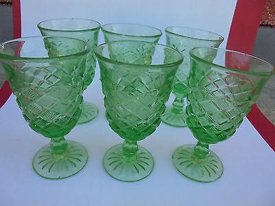 27634 6 Alte Preßglas Becher Steinel Vint Cup Thumbler Pressed Glass Kl. Sprünge