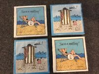 Set Of 4 - 20 Ct Paper Cocktail Napkins Beach Babes At The Beach