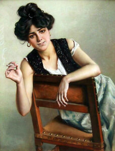 Hand-painted-Oil-painting-young-woman-seated-on-chair-smoking-Chinese-studio