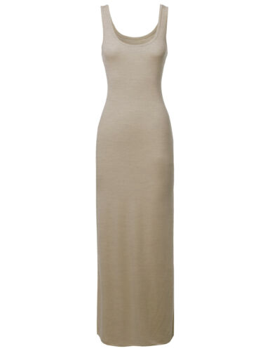 FashionOutfit Women/'s Casual Comfy Solid Sleeveless Racer-Back Long Maxi Dress