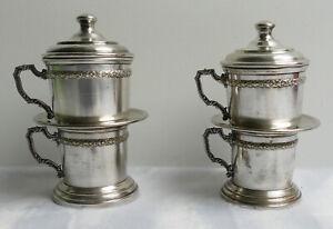 Paire-de-mono-filtres-filtres-a-cafe-et-porte-verres-Metal-argente-Debut-XXe