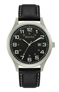 Bulova-Men-039-s-Quartz-Date-Silver-Tone-Case-Black-Leather-Strap-42mm-Watch-96B276