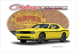 2012 Dodge Challenger Srt Yellow Jacket Muscle Car Art Print Ebay