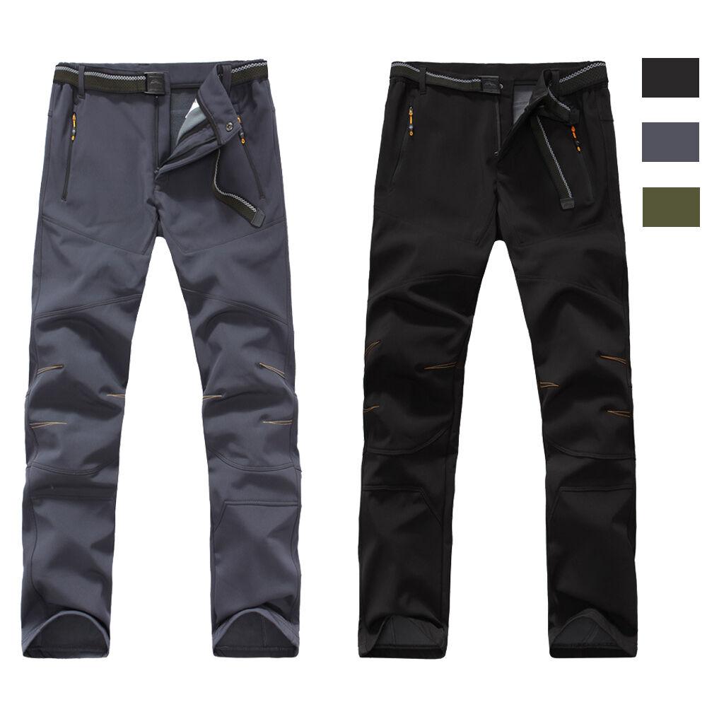 Mens Outdoor Waterproof Windproof Softshell Fleece Lined Pants Climbing Trousers