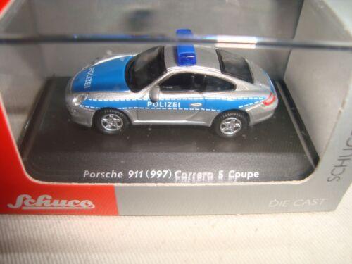 MINIATURE 1//87 HO SCHUCO  PORSCHE 911 997 CARRERA S POLIZEI  NEUVE BOITE PLEXI