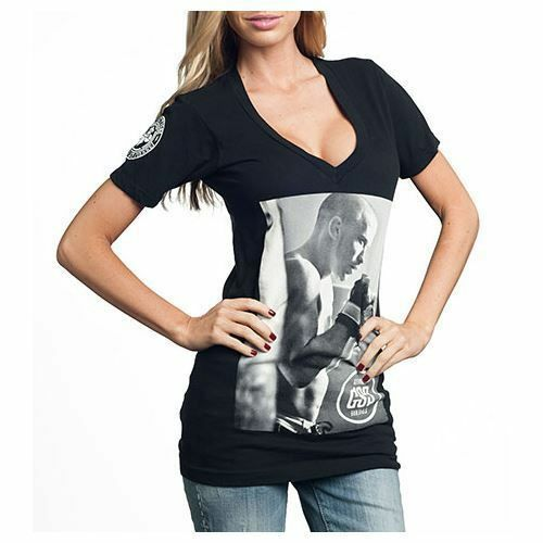 AFFLICTION Womens T-Shirt GEORGES ST PIERRE Fight Biker MMA UFC Sinful S-L $39