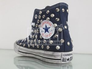 Converse all star Hi borchie scarpe donna uomo blu navy artigianali