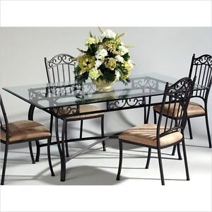 Chintaly Rectangular Glass Top Wrought Iron Dining Table ...