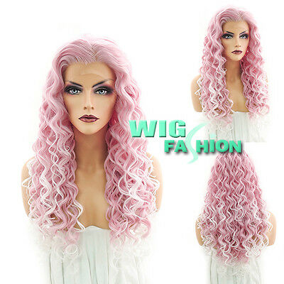 """26"""" Long Spiral Curly Pink With Light Tips Lace Front Wig Heat Resistant"""