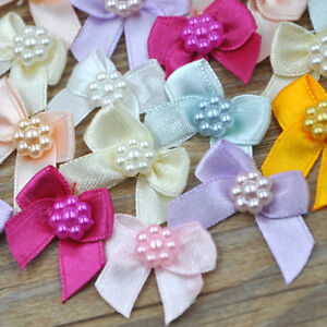 Mini-Satin-Ribbon-Flowers-Bows-Gift-Craft-Wedding-Decoration-ornament-A262