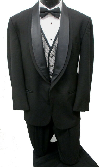 Black Oscar de la Renta One Button Shawl Tuxedo Package Wedding Prom Formal 42S