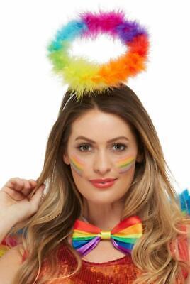 Rainbow Marabou Angel Halo Headband Fancy Dress Pride LGBT Festival Accessory