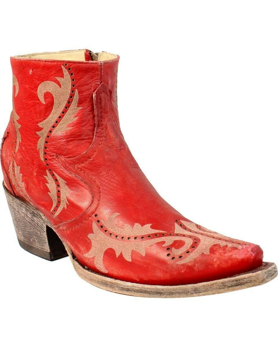 Corral Women's Laser Snip Toe Toe Toe Zip Up Western Ankle Boots Red G1379 098c35