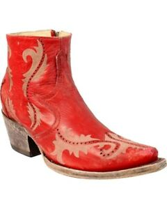 c56b3a8fcddac Details about Corral Women's Laser Snip Toe Zip Up Western Ankle Boots Red  G1379