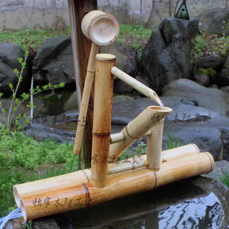 Bamboo Accents función de Agua Bomba De Fuente Mecedora decoración moderna Rueda De Agua