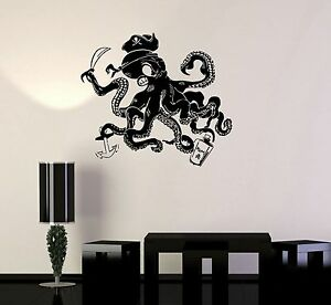 Image is loading Vinyl-Wall-Decal-Pirate-Octopus-Tentacles-Nautical-Kids- & Vinyl Wall Decal Pirate Octopus Tentacles Nautical Kids Room ...