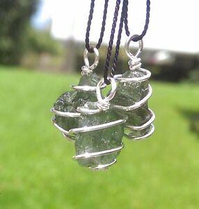 Womens Sterling Silver Scolecite Moldavite Crystal Necklace