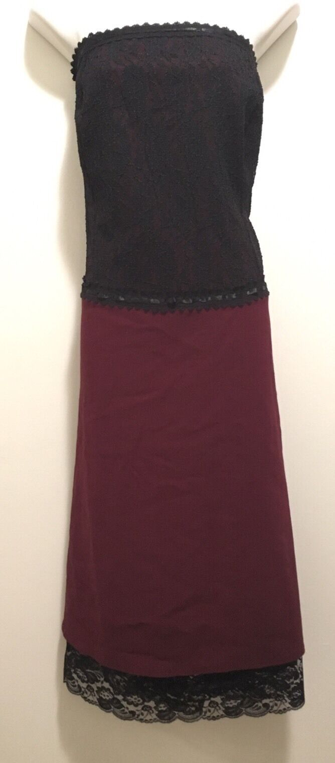 New Torrid Steampunk Goth Burgundy & schwarz Corset Style Ribbon Lace-up Dress 24w