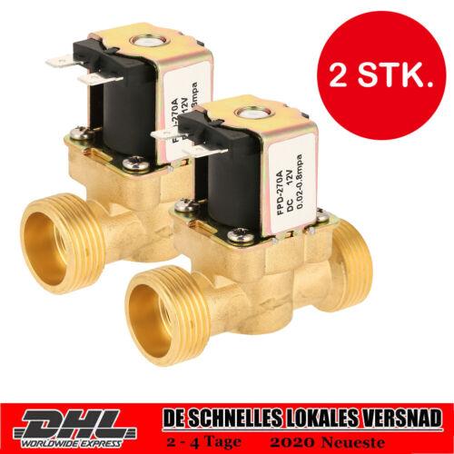 """2er Magnetventil Set Messing 3/4"""" 12V DC stromlos geschlossen Wasser Ventil TOLL"""