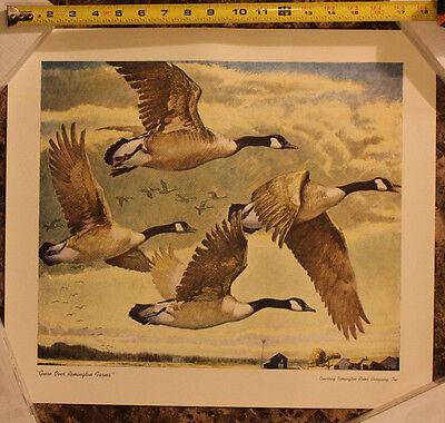 "FREE SHIPPING Vintage Remington Arms Co /""Geese Over Remington Farms/"" Print"