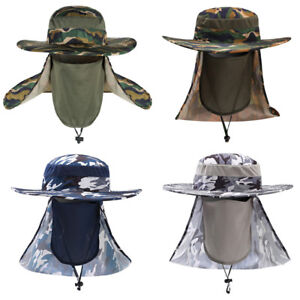 b7dded4ad09 Image is loading Men-Summer-Camouflage-Sun-Protection-Hat-Outdoor-Wide-