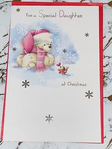 Pretty Sparkling Effect Christmas Card For Daughter