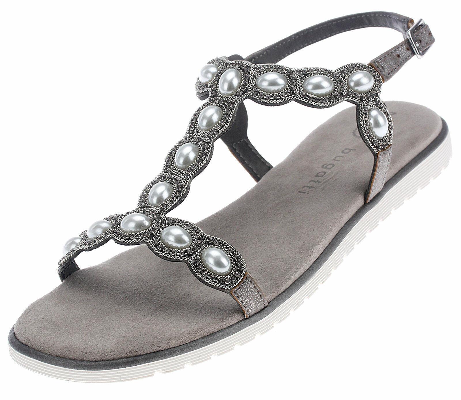 Bugatti Damen Sandalen Freizeit Sandaletten Flach Sommerschuhe Frauen 47884 grau