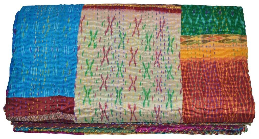 Vintage Patola Silk Sari Kantha Quilt Patchwork Bedspreads,Throws,Ralli,Gudari