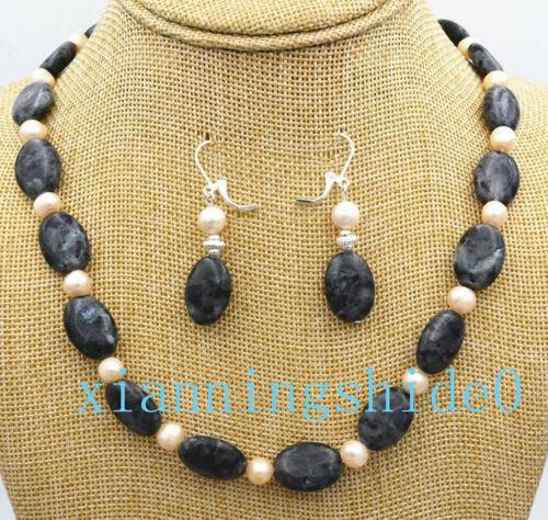 """13x18mm Black Gray Labradorite Gems Ovale Collier De Perles 18/"""" /& Boucles d/'oreilles Set"""
