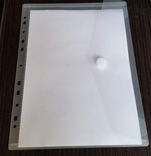 Abheftrand /& Klettverschluss 5x A4 Dokumentenhülle Prospekthülle mit Klappe