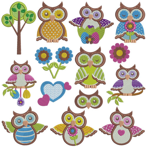 OWLS 2 ** Machine Embroidery Patterns 14 designs x 2 sizes