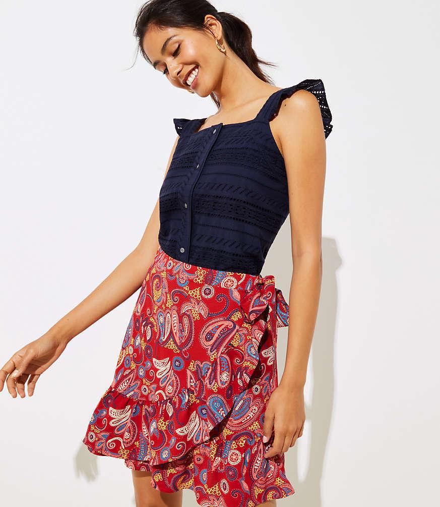 NWT LOFT Paisley Ruffle Wrap Skirt - Zesty Red - Size 8