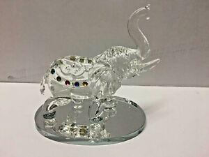 NEW-Clear-Crystal-Elephant-Ornament-Statue-Cut-Glass-African-Swarovski-UK
