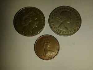 NUOVA Zelanda monete in buonissima condizione 1963 1 SHILLING 1967 1 CENT 2008 $1 DOLLARO