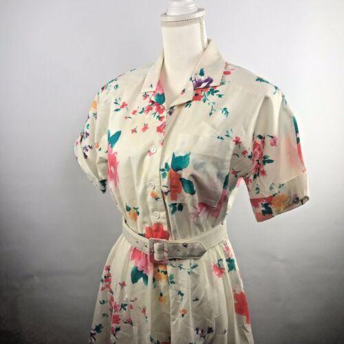 Vintage 80's Willow Ridge Floral Shirt Dress Belte