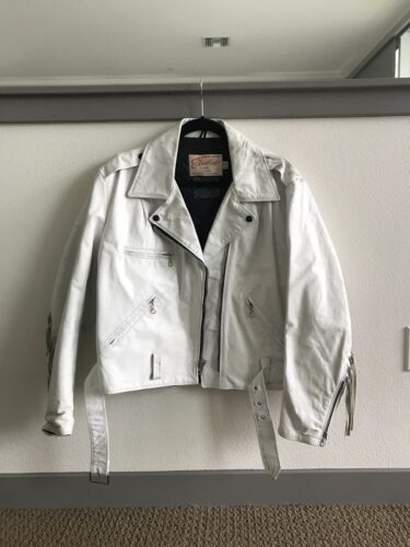 RARE Vintage Excelled White Leather 1970's Motorcy