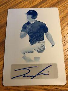 New York Yankees JOSH SMITH 1/1 Autograph Cyan PRINTING PLATE 2019 Leaf Flash