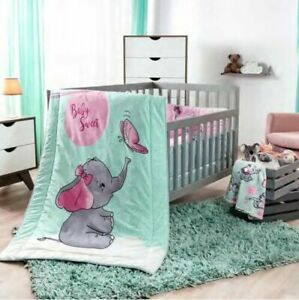 Details About New Little Elephant Pink Baby Girl Nursery Crib Bedding Set Elephant Blanket