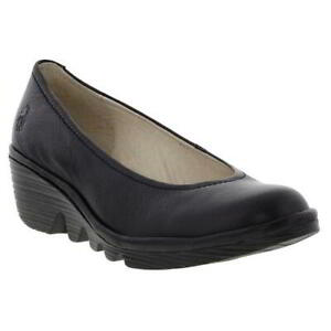 fly london pump womens ladies black leather wedge casual