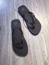 Tory Burch Thin Enamel Printed Flip Flops Sandal Thong Reva Flat sz 7 Black NEW