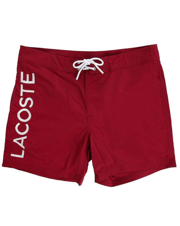 Lacoste Men's Premium Surf Swim Trunks Board Shorts Bordeaux Red