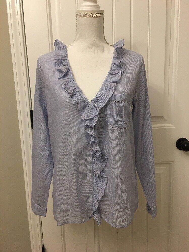 New Madewell Sézane Capucine Striped Shirt Blau Weiß Sz 6(38) H1218