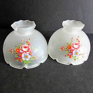 2-Vintage-Frosted-Floral-Glass-Lamp-Shade-Globes-Light-Cover-4-75-034-wide-FREE-SH