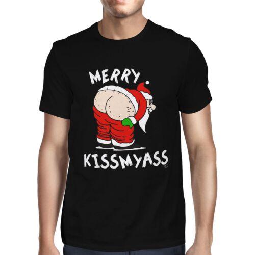 1Tee Mens Merry Kissmyass Christmas T-Shirt